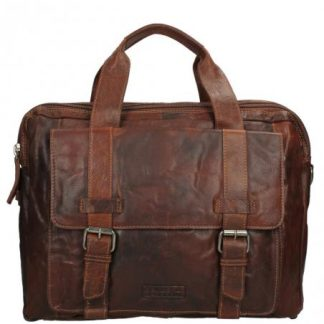 "SPIKES & SPARROW A4 Laptoptas 15"" Brandy topbags.nl Holtkamp Lederwaren Hengelo"